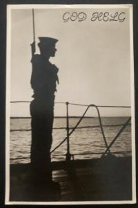 1942 Sweden Real Picture Postcard cover RPPC Marine Navy Soldier WW2