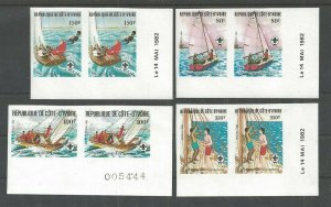 1982 Ivory Coast Sea Scouts 75th ann sailing Imperf pr