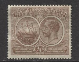 Bermuda - Scott 55 - Seal of Colony & KGV - 1920 - MNG - Single - 1/4d Stamp