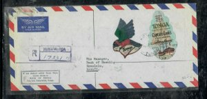 TONGA COVER (PP0301B)  1975 FREE FORM STAMPS,X2 REG COVER TO HAWAII