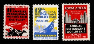 POSTER STAMPS 11TH, 12TH, AND 14TH ANNUAL RESTAURANT WORLD'S FAIR MNH-OG