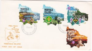 Norfolk Island # 231-234, Scouting in Norfolk 50th Anniversary, First Day Cover