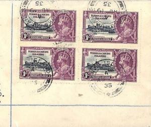 AB331 British 1935 SILVER JUBILEE SET Turks & Caicos Blocks{4} FOUR COVERS