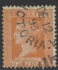 VICTORIA SG313b 1890 1d ORANGE-BROWN USED