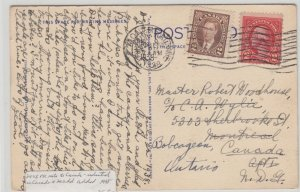 1938 unpaid US franked post card paid with 2 cent Mufti CAnada