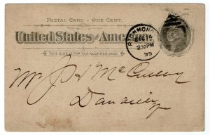 (I.B) US Postal Service : Postal Card 1c (Richmond 1895)