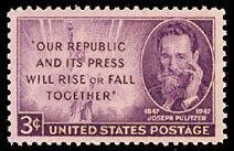 946 Joseph Pulitzer F-VF MNH single