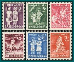 Indonesia 1954 Child Welfare, MNH  #B77-B82,SG676-SG681