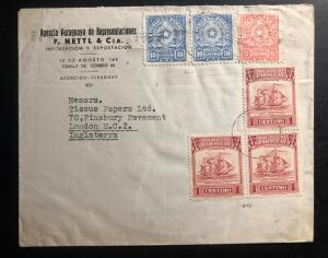 1930s Asuncion Paraguay Airmail Commercial Cover to London England