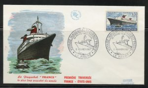 France Scott 1018 on FDC - First Voyage of the new Ocean Liner France