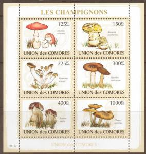 COMORES 2009 MUSHROOMS SHEETLET MNH