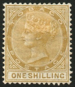 TOBAGO-1880 1/- Yellow-Ochre Sg 12 AVERAGE MOUNTED MINT V48449