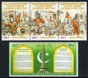 Pakistan 730-731, MNH. Pakistan Resolution, 50th anniv., 1990