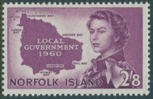 Norfolk Island 1960 SG40 2/8d QEII Local Government MLH