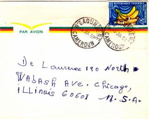 Cameroun 30F Bananas 1969 N'Gaoundere, Cameroun Airmail to Chicago, Ill.  EUR...