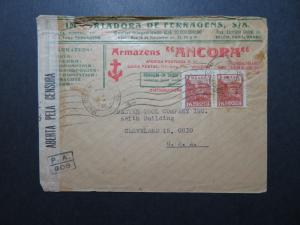 Brazil 1945 Cacheted Commercial Censor Cover to USA / Minor Top Damage - Z10791