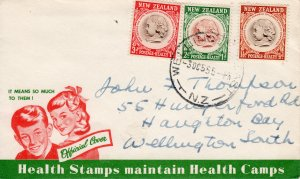 New Zealand 1955 Sc#B46/B48  CHILD'S HEAD HEALTH STAMPS Set (2) Official FDC