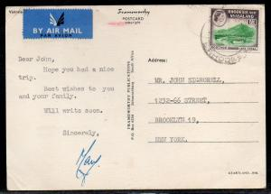 Rhodesia & Nyasasland 1/3 Air Mail Post Card Rate to US A793