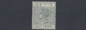 NEVIS  1882 - 90  S G 25  1/2  DULL GREEN     MH      CAT £14