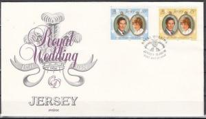 Jersey, Scott cat. 280-281. Diana`s Royal Wedding issue. First day cover.
