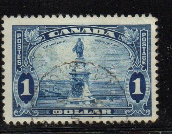 Canada Sc 227 1935 $1 Champlain Monument stamp used