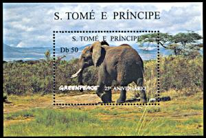 St. Thomas & Prince Islands MNH S/S 1241 Elephant 25th Anniversary Of Greenpeace