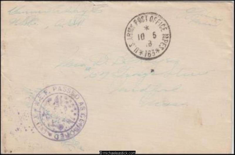 France 1918 (May) Censored WWI Military Cover Benignon to Medford MA USA