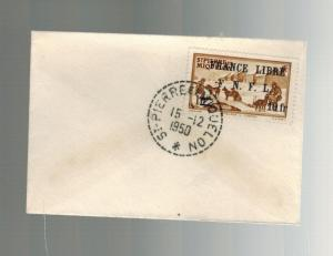 1950 St Pierre Miquelon Mini cover # 254