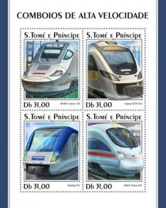 SAO TOME - 2018 - High Speed Trains - Perf 4v Sheet - MNH