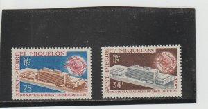 St. Pierre & Miquelon  Scott#  397-398  MH  (1970 UPU)