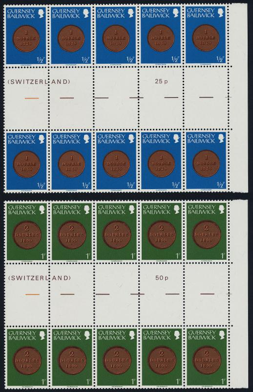 Guernsey 173-88 Gutter Pair Blocks (10) MNH Coins on Stamps, Flower, Bird, Crest