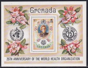 Grenada 1973 Sc 515 Portrait Marie Curie World Health Organization Stamp SS MH