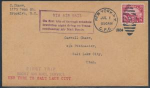 #C6 ON 1ST NIGHT TRANS-CONTINENTAL AIRMAIL ROUTE NY TO SALT LAKE CITY, UT BT8058