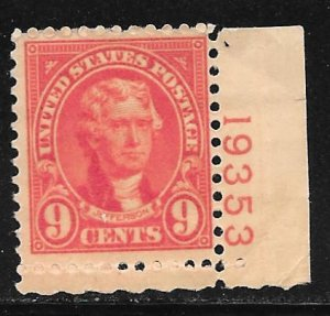 USA 641: 9c Jefferson, plate number single, MH, F