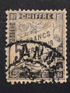 France 1882 - Type Duval tax stamp,  5 francs black. - Yvert Taxe 24