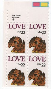 US, 2202, MNH, PLATE BLOCK, 1986, LOVE ISSUE