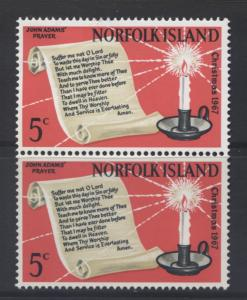 Norfolk Is - Scott 115- Christmas.-1967 -MLH - Joined Pair of  5c  Stamps