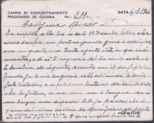 ALGERIA 1946 British POW card from Italian Prisoner to Italy...............53666