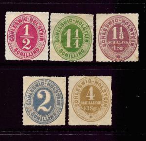 SCHLESWIG-HOLSTEIN  1865  NUMERALS  SET 5   MHH   SG 6/10