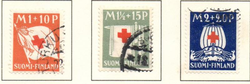Finland Sc B2-4 1930 Red Cross stamp set used