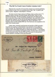 1918, Boston, MA to American Prist, Paris, France, Ex Lowther,See Remark (C3400)