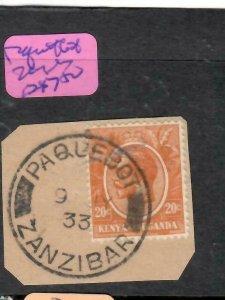 ZANZIBAR   (PP1206B) 1933 KENYA & UGANDA KGV 10C ZANZIBAR PAQUEBOT SON PIECE VFU