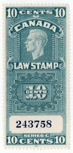 (I.B) Canada Revenue : Law Stamp 10c (1938)