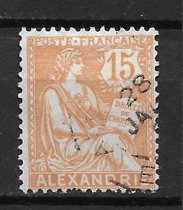 France Offices in Egypt - Alexandria 22 15c single Used