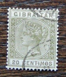 Gibraltar 1889 - 96 20c Olive Green SG25 Fine Used