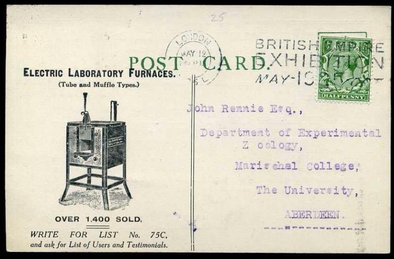 1925 Postal Stationery Advertising Post Card KGV Electric Lab Furnances