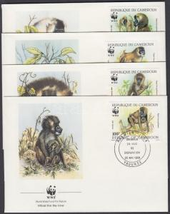 Cameroon stamp 1988 WWF Drills set Mi 1155-1158 4 FDC WS136519
