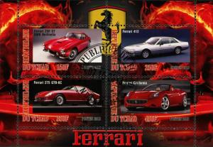 Chad Ferrari Car Transportation Luxury Souvenir Sheet of 4 Stamps