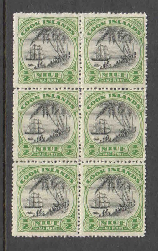 NIUE BLOCK 6 OG NH U/M F-VF BEAUTIFUL GUM $$$$$$$