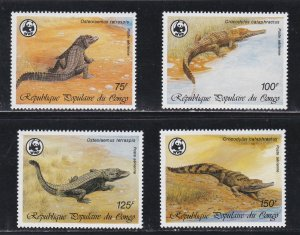 Congo # C367-370, WWF - Crocodiles, NH, 1/2 Cat.